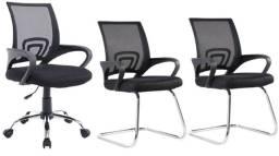 Kit Cadeira Diretor Pel-Cr11 e 2 Interlocutores Pel-Cr11/1 Pretas Nova/ Nfe/ Garantia
