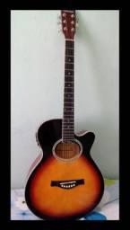 Violão eletroacústico (marca: Giannini) + capa, estante de partitura e palheta