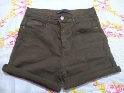 Shorts cós alto verde militar tamanho 36