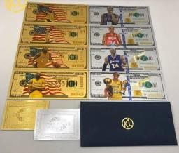 Cédulas Douradas e Prata <br>Comemorativas Importadas kobe Bryant