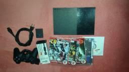 PlayStation 2 Slim com 5 jogos, 1 controle, 1 memory card e cabos!