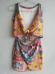 Vestido estampado de verão - tamanho único