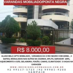 Sampaio A-L-U-G-A (M-O-B-I-L-I-A-D-O) Varandas do Rio a com 4 suítes, 220m2