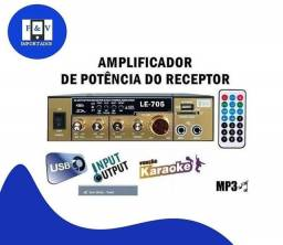 Mini Modulo Amplificador Karaoke 200w Usb Sd Bluetooth 2 Mic KT-705