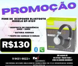 Fone de Ouvido Ecopower EP-H129 - Bluetooth - Preto e Prata