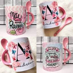 Caneca com colher e interior rosa personalizada como desejar