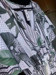 Vestido longo estampado  verde novo