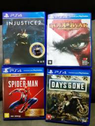 Kit com 4 Jogos/Games PS4 - Spider Man, Days Gone, Injustice2, God Of War