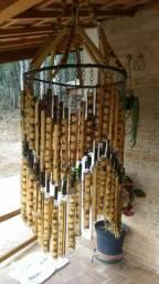 Lustre Luminária Feito A Mão Com Bambu