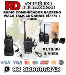PAR RADIO COMUNICADOR BAOFENG WALK TALK 16 CANAIS RECARREGÁVEL