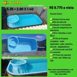 Piscina de fibra com spa 5.35 ×2.90 ×1.40  fibra branca ou azul