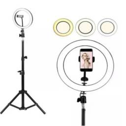 Ring Light Led Iluminador 26x26cm Com Tripé 210 Cm