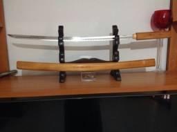Katana Espada Samurai com Bainha em Madeira com fio