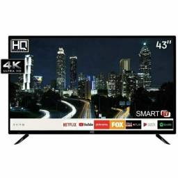 "SMART TV LED 43"" HQ HQSTV43NY ULTRA HD 4K NETFLIX YOUTUBE 2 HDMI 2 USB WI-FI<br><br>R$ 800,00"