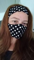 Kit tiara e máscara em tecido de algodão