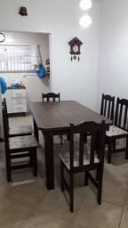 Mesa e 6 cadeiras forradas mdf