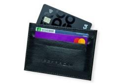 Porta-cartão Preto couro legítimo Ferracini