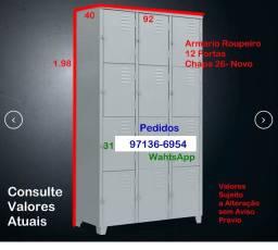 Armario Roupeiro 12 Portas- PP- Novo- Chapa 26- Oficina Casa Empresa