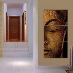 Quadro Buda Para Sala Hall Decorativo 120x60 Mosaico 3 Peças