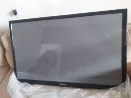 Televisão e aparelho TV box