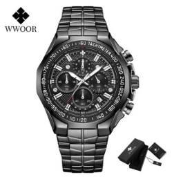 Relógio de Luxo em Aço -  Wwoor Militar Black