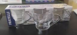 Conjunto 3 xícaras com detalhe em inox