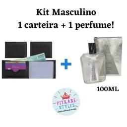 Kit Masculino, Carteira + Perfume 100ml