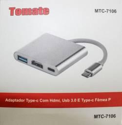 Cabo Adaptador Type C X Type C Usb 3.0 Hdmi Tomate Mtc-7106