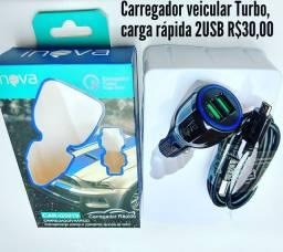Carregador veicular Turbo completo em promoção