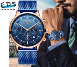 Relógio de Luxo Lige Para Homens Elegante Aprova D'água