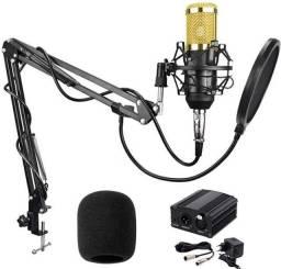 Microfone bm800 + Phantom Power 48v + braço articulado + pop filter