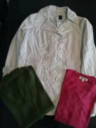 Combo de casaco e dois Cardigans curtos básicos de trico