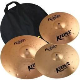 Kit de pratos Krest Fusion 14'' 16'' 20'' + bag