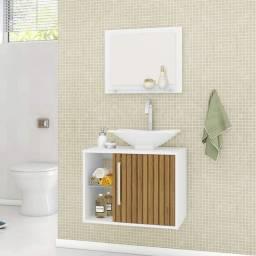Gabinete para Banheiro com Cuba e Espelheira Baden Móveis Bechara Branco/Ripado
