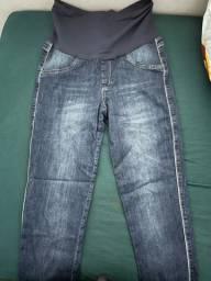 Calça e short jeans gestante