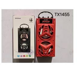 caixa de som portatil usb fm aux  led karaoke cartao de memoria som alto nova
