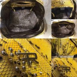 Bolsa couro animal print , Renner Franco , com spikes