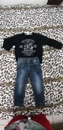 Calça jeans e moletom como novos.