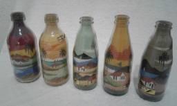 Artesanato do Nordeste Garrafas com Pintura em areia