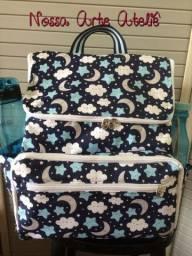 Mochila maternidade com porta fraldas e lenço