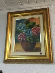 Quadro Pintura em Tela Flores Dourado