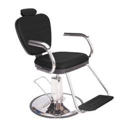 Cadeira Top Barber Barbeiro Reclinável Hidráulica Preta Dompel