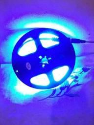 Fita led azul com 5 metros e fonte