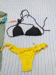 Biquíni canga chapéu para praia