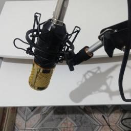 Microfone condensador + Phantom+ placa de som + suporte e acessórios