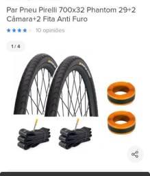 Par pneu Pirelli + câmaras + fita antifuro