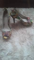 Sapato Salto Peep Toe Tanara