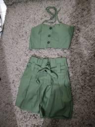 Conjunto verde militar tamanho médio vesti até o g
