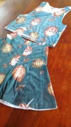 Kit vestido e conjunto saia e blusa tamanho PP