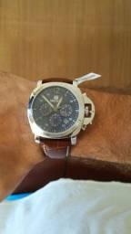 Relógio Masculino Megir Azul Couro Marrom